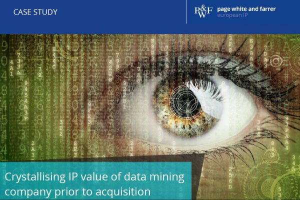 Crystallising IP value of data mining company prior to acquisition