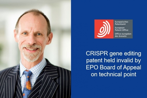 Adam Flint comments of the EPO's decision to declare the CRISPR patent invalid