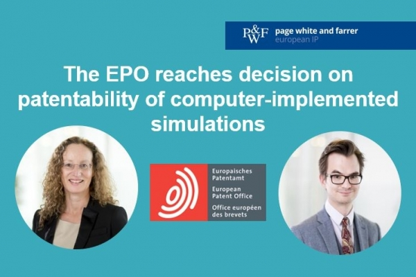 EPO decision G1/19 and patentability of computer-implemented simulations