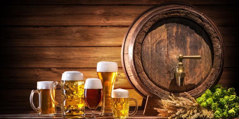 German beer, tankards and keg