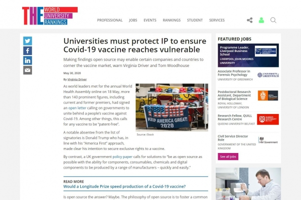 Universities urged to guard their IP in Times Higher Education