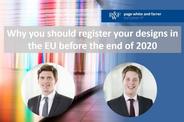 Why you should register your designs in the EU before the end of 2020
