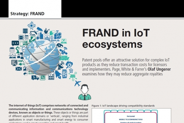 Patent pools and the evolution of FRAND licensing in IoT ecosystems